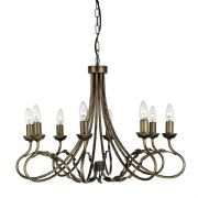 Olivia 8 Light Fitting in Black Gold with Hand Finished Leaf Detail - ELSTEAD OV8 BG